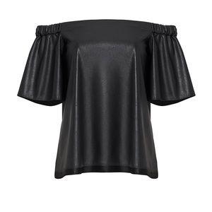 Retail $198. Black Faux Leather Off Shoulder Top